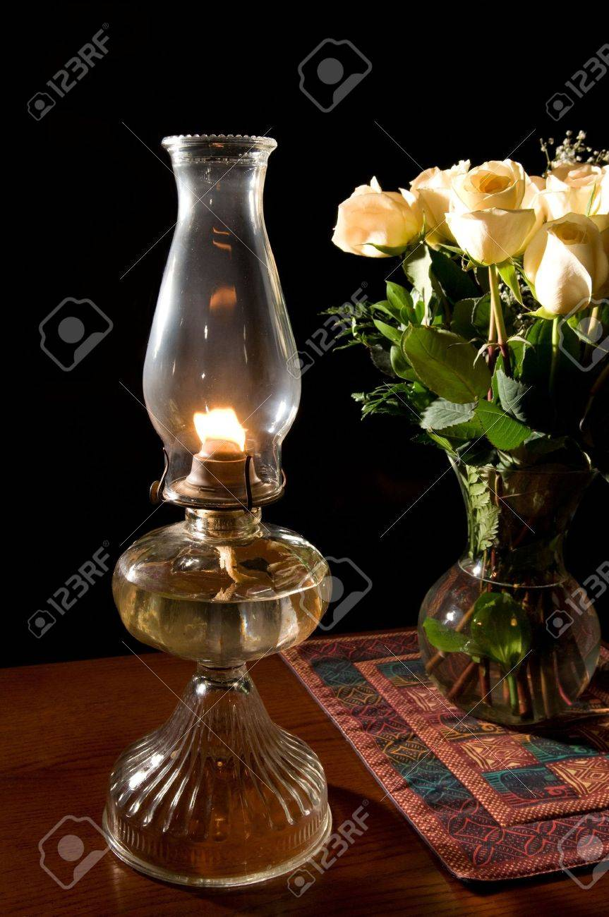 oil lamp with roses Stock Photo - 4421977