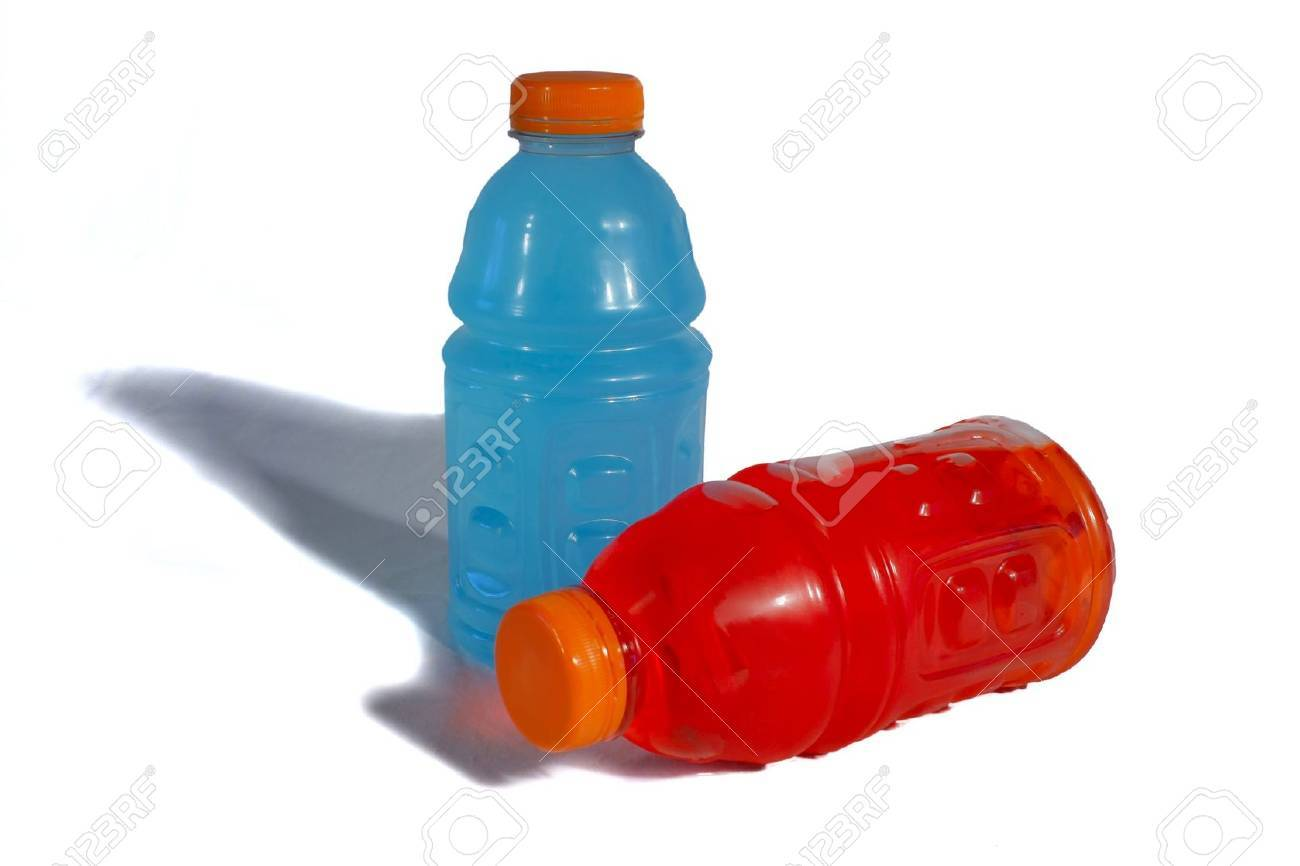 Two sports bottles, one red, one blue, against a white background Stock Photo - 11808455