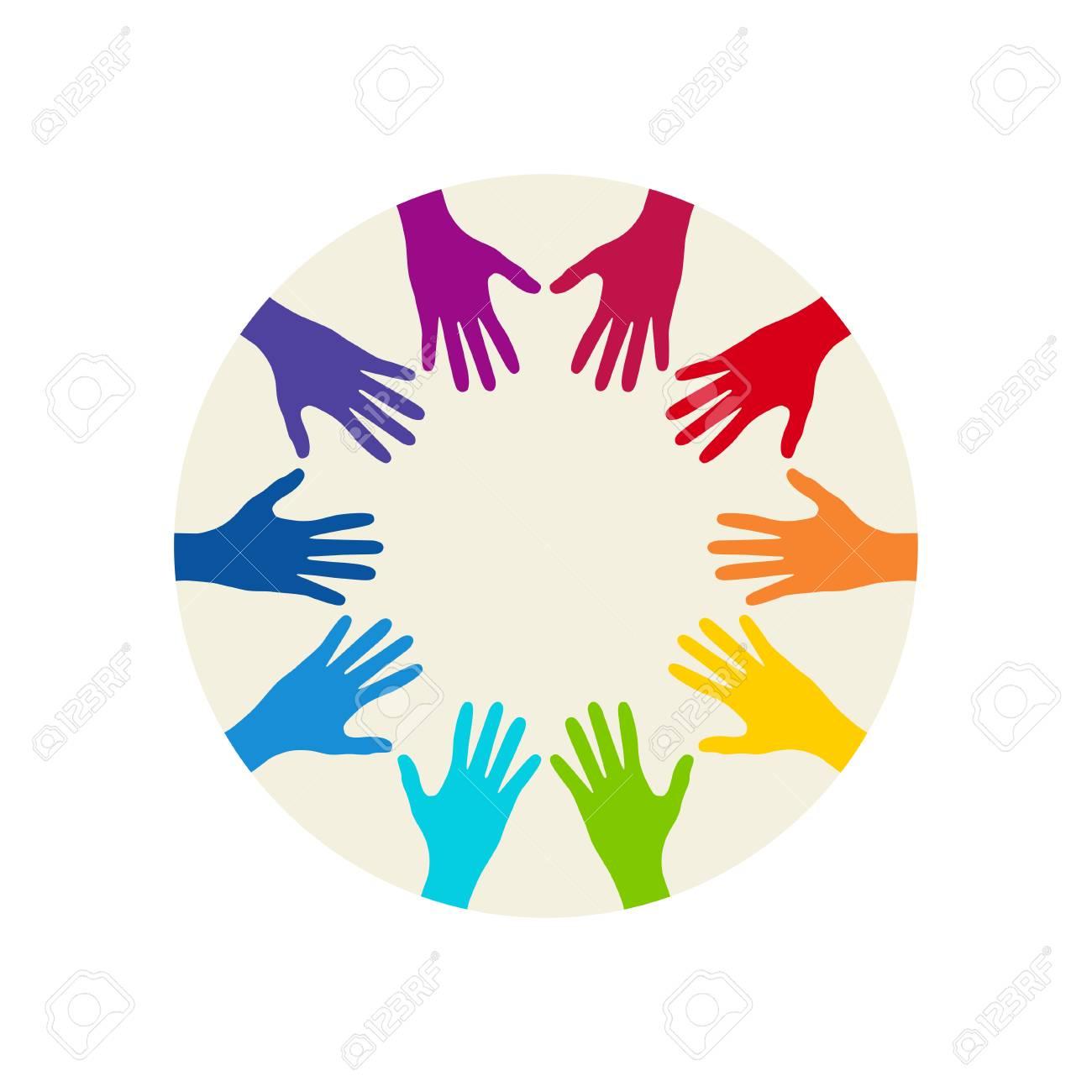 people colorful hands united together illustration of teamwork rh 123rf com Open Hands Vector Hand Gestures Vector