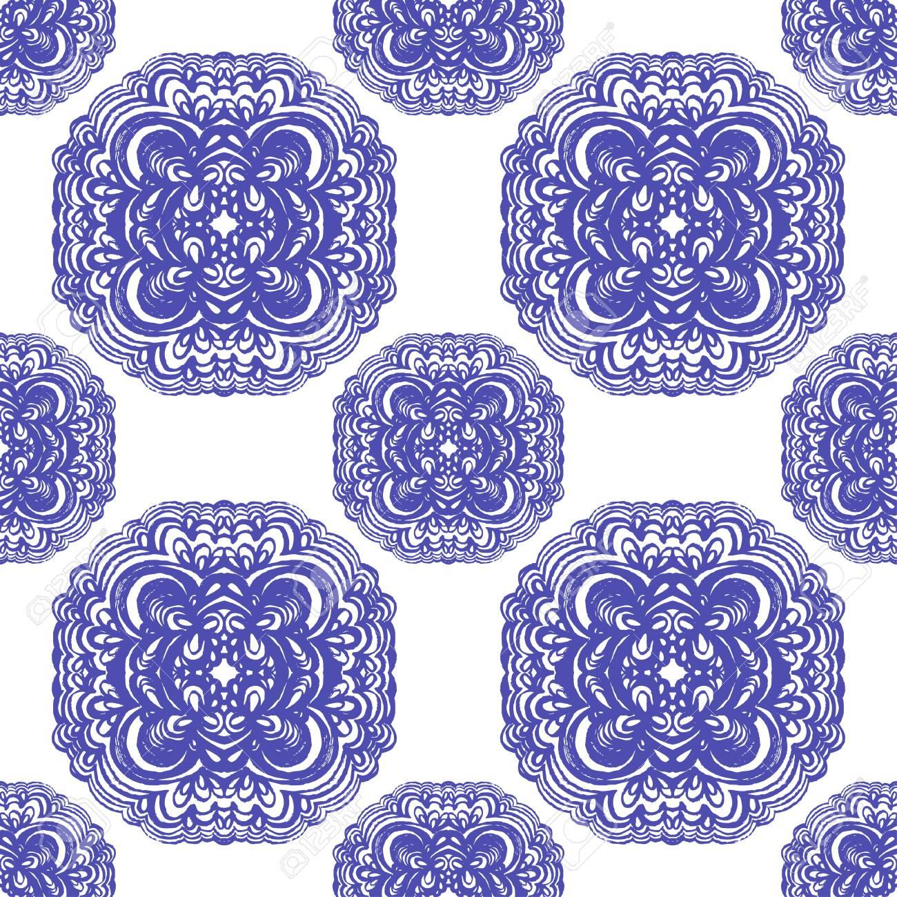 青と白の色でモロッコのタイル装飾 シームレスなパッチワークのパターン 壁紙 テキスタイル パターン塗りつぶし 別の面 Web サイトのページの背景に使用できます のイラスト素材 ベクタ Image
