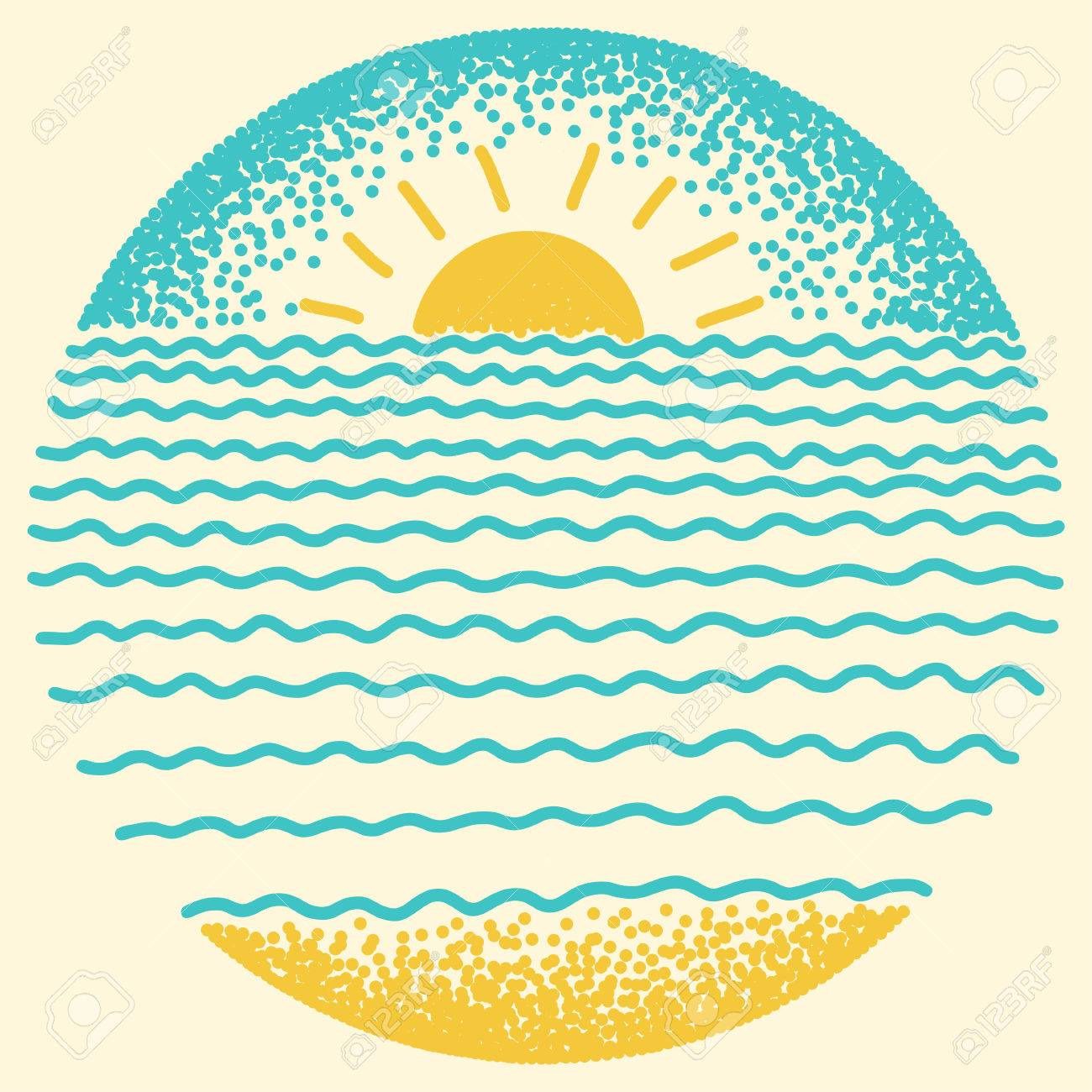 Sea sunset with sun, sea waves and sand. Dots and line modern digital drawing illustration. - 52369195