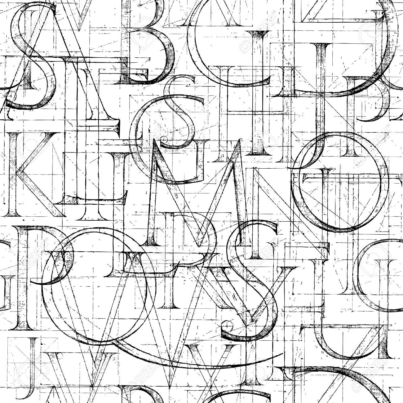 Wallpaper seamless pattern with Modern Roman Classic Alphabet. Method of Geometrical Construction for Large Letters. Hand drawn construction sketch of ABC letters in old fashion vintage style. - 52369222