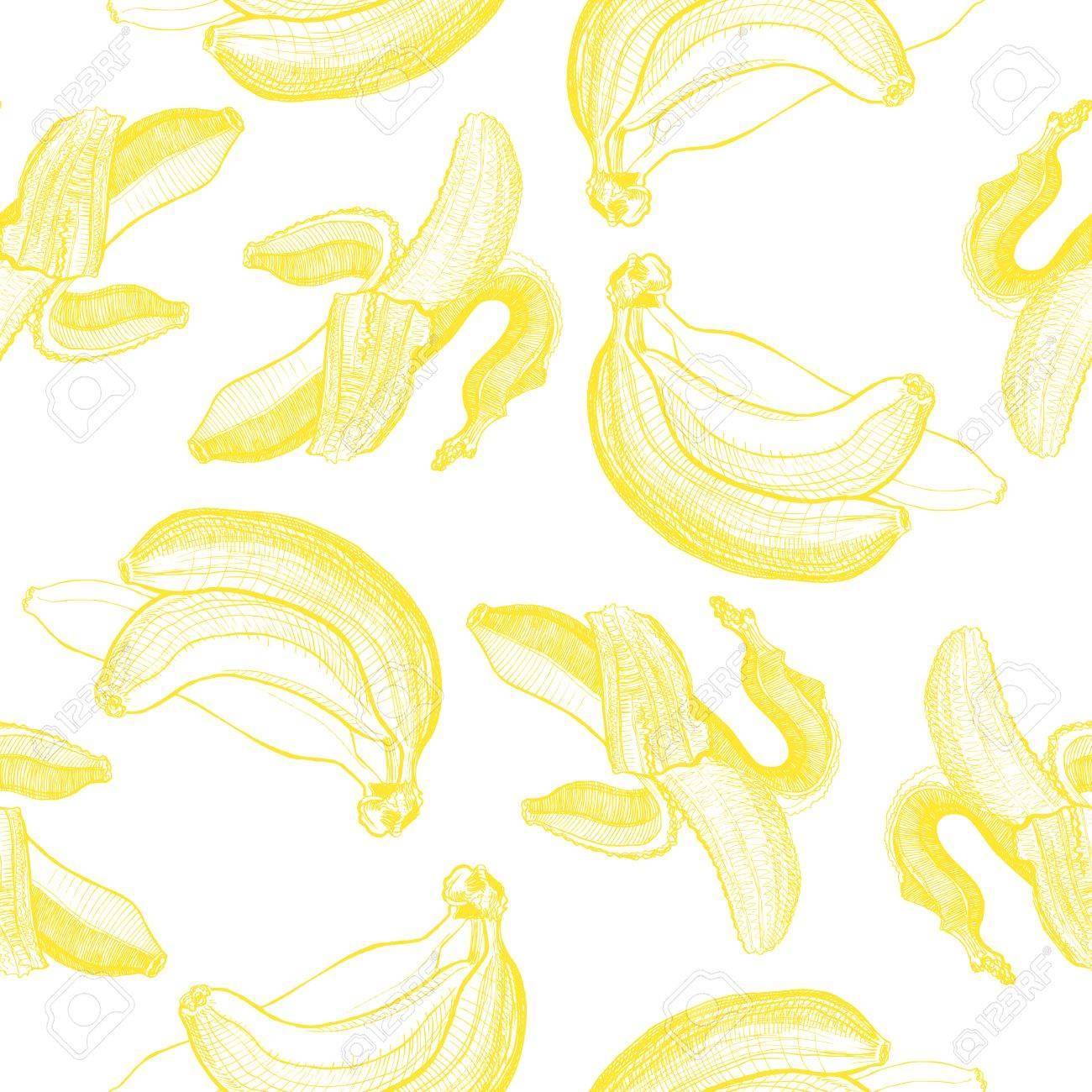 バナナ彫刻図面 シームレスな壁紙パターン 果物や食べ物のテーマの