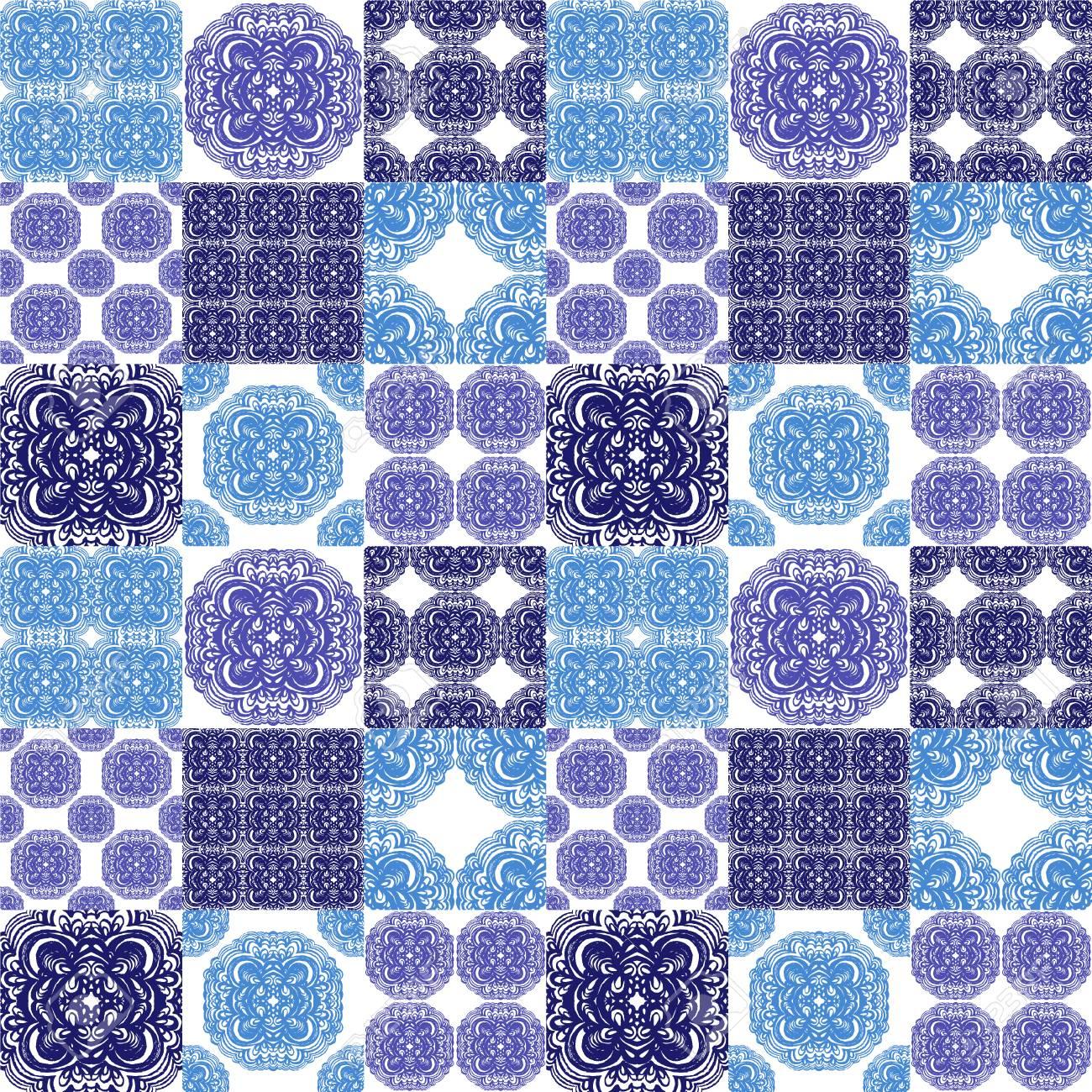 青と白の色でモロッコのタイル装飾 壁紙 テキスタイル パターン塗りつぶし 別の面 Web サイトのページの背景に使用できます の写真素材 画像素材 Image