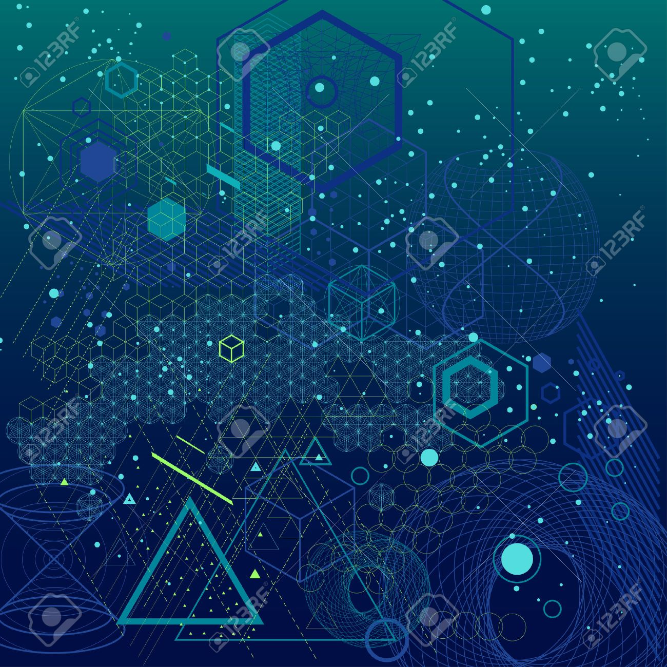 Sacred geometry symbols and elements background. Cosmic, universe, bing bang, alchemy, religion, philosophy, astrology, science, physics, chemistry and spirituality themes - 52498659