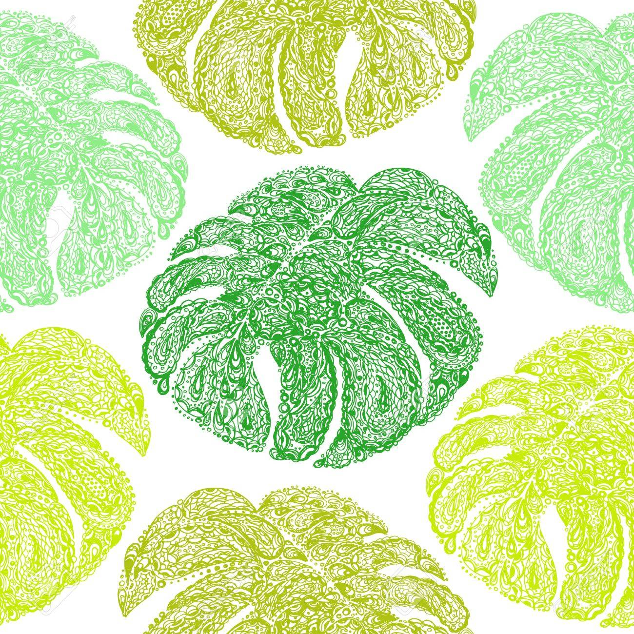 Monstera Leaves Illustration In Paisley Style Tropical Jungle Plant Vector Wallpaper Seamless Textile Pattern