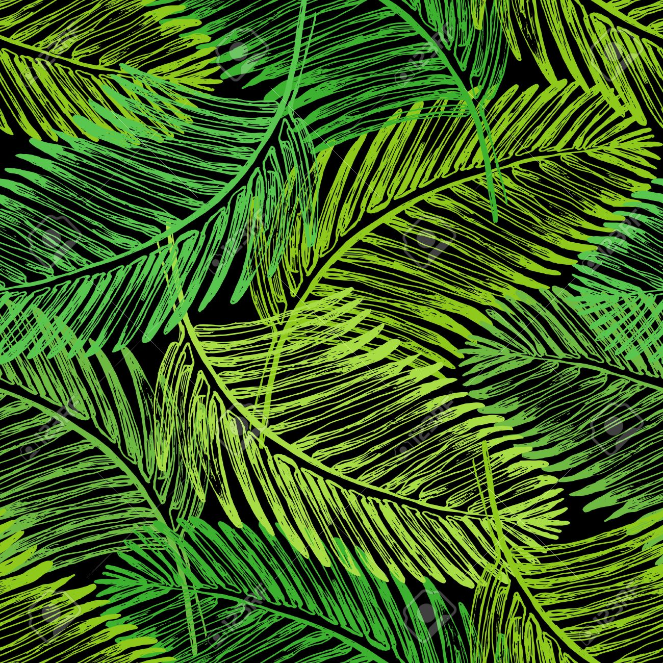 Palm Leaves Illustration Tropical Jungle Plant Vector Wallpaper