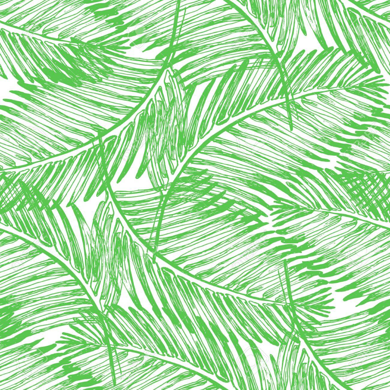 Palm Leaves Illustration Tropical Jungle Plant Vector Wallpaper