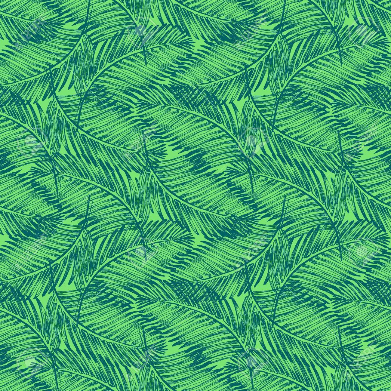 Palm Leaves Illustration Tropical Jungle Plant Vector Wallpaper Seamless Textile Pattern Retro Vintage