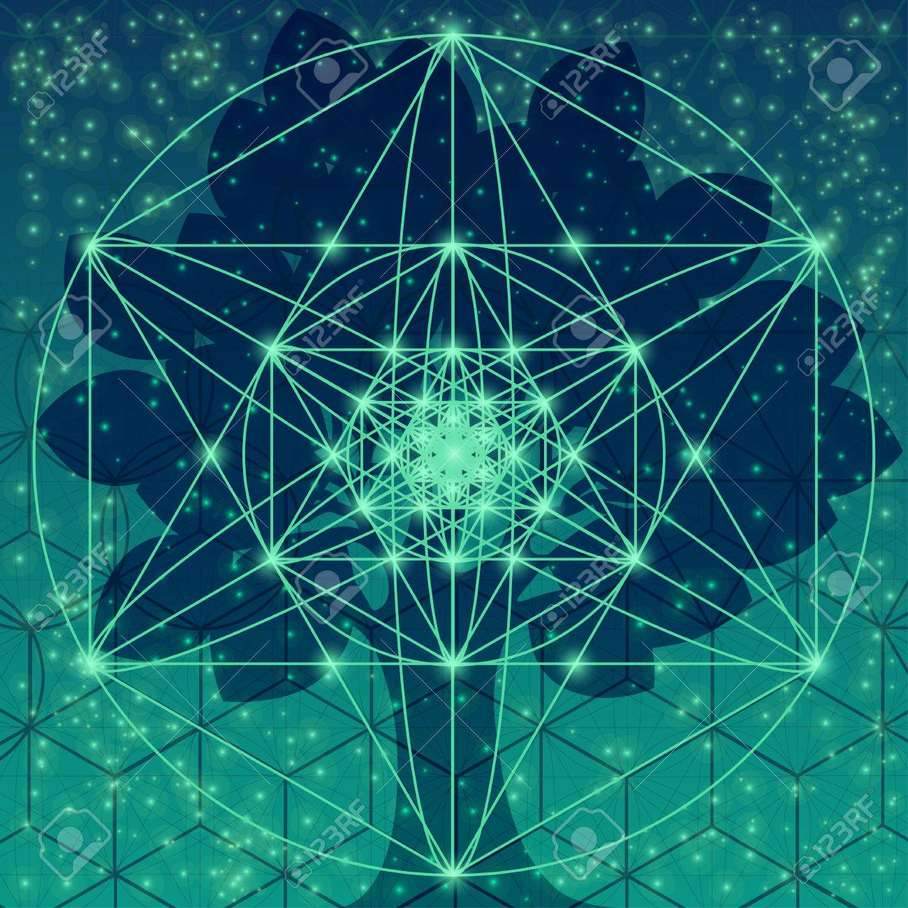 Tree with sacred geometry symbols and elements - 58027942