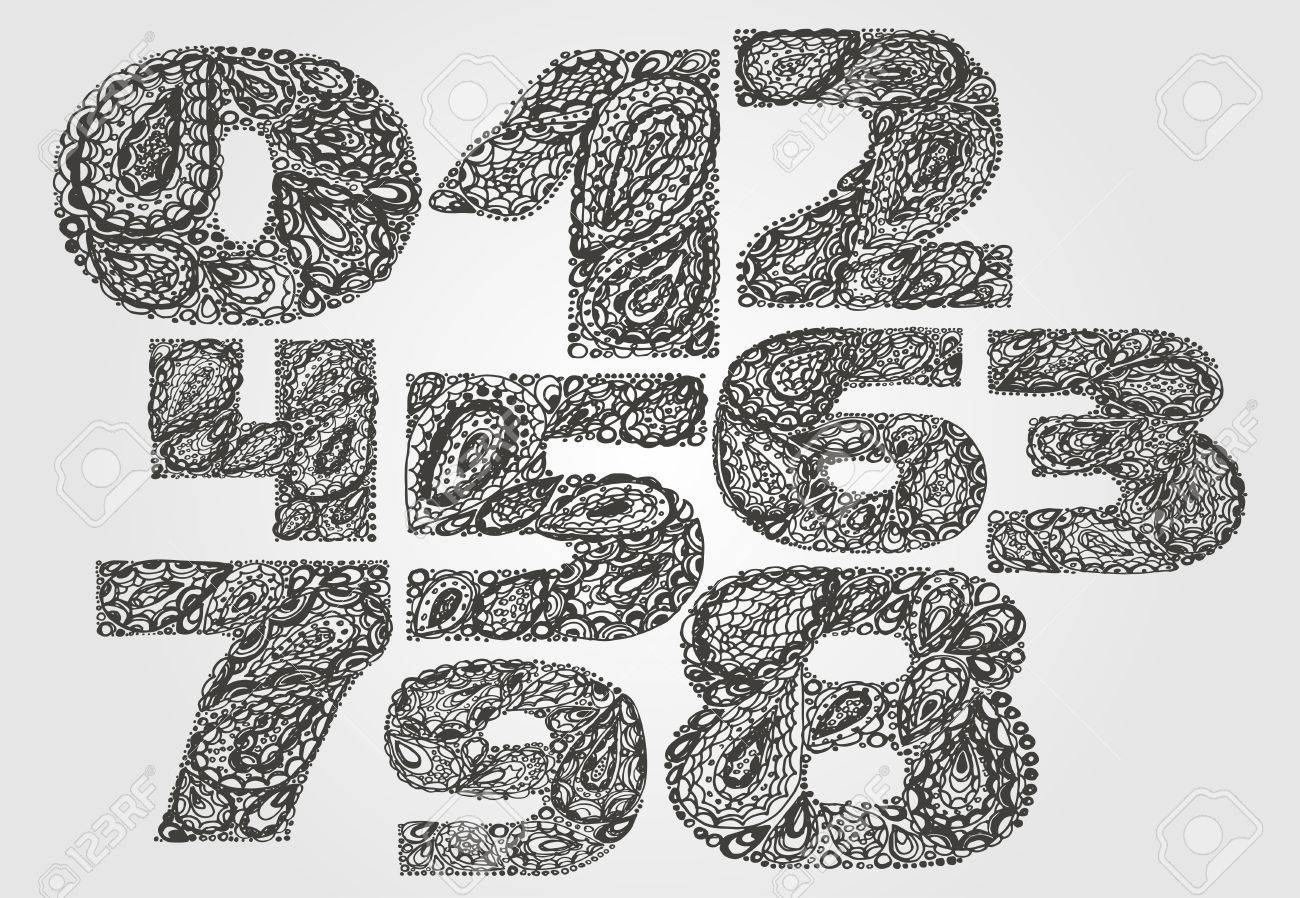 Numbers Decorative Set With A Paisley Zen Doodle Tattoo Ornaments Filling Display Numeric Hand