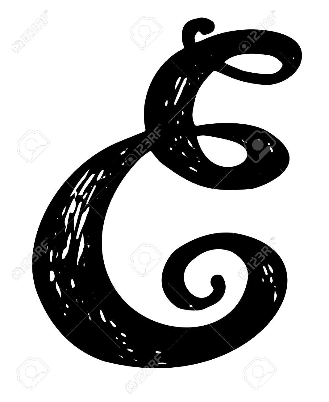 letter e. calligraphy alphabet typeset lettering. hand drawn
