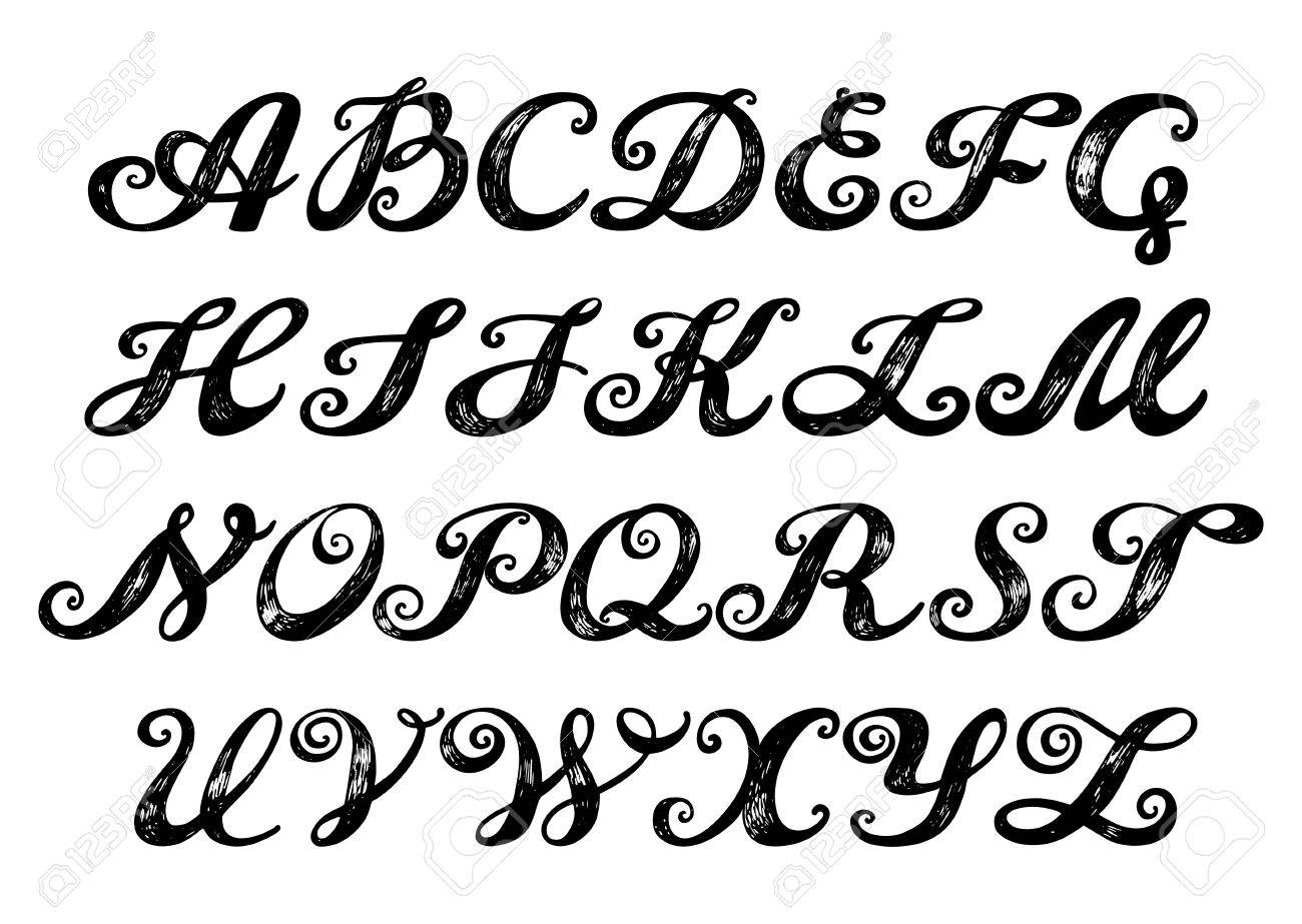 87 Old Calligraphy Alphabet Ancient Calligraphy Fonts Images