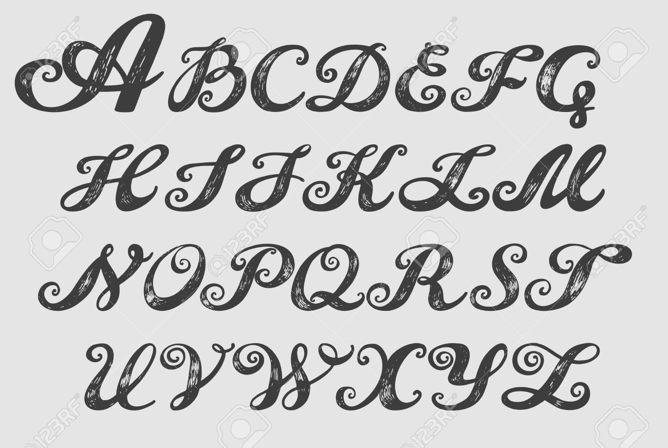 Calligraphy Alphabet Typeset Lettering Hand Drawn Capital And Lower Case Letters
