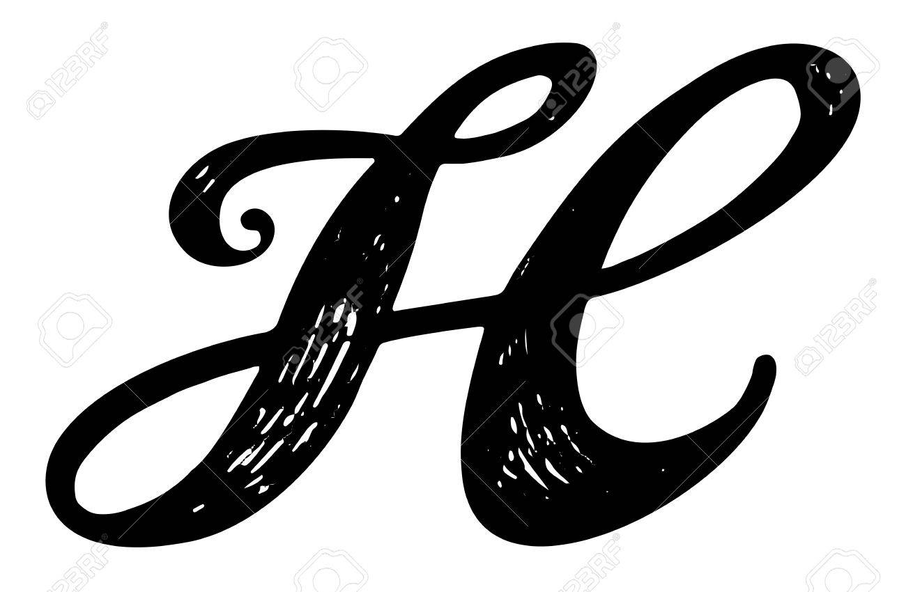 Letter H Calligraphy Alphabet Typeset Lettering Hand Drawn Capital And Lower