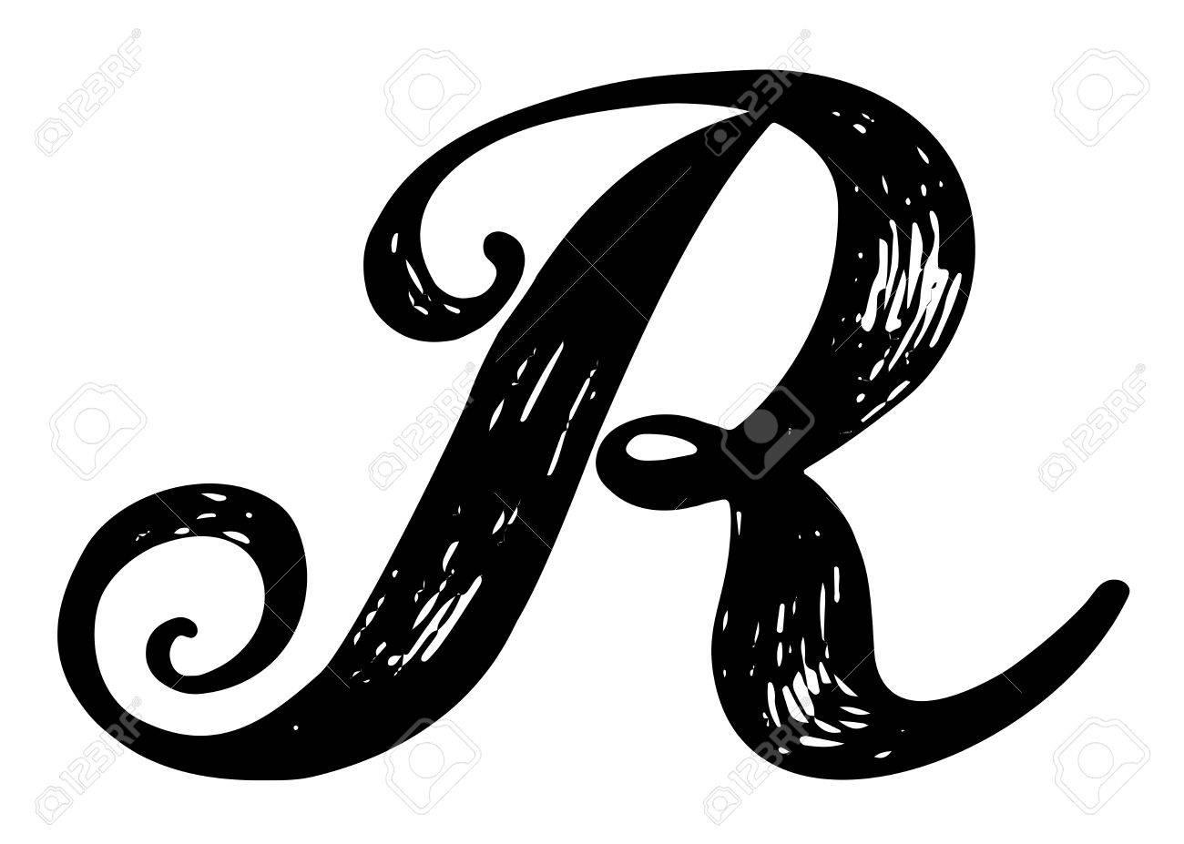 letter r. calligraphy alphabet typeset lettering. hand drawn.. stock