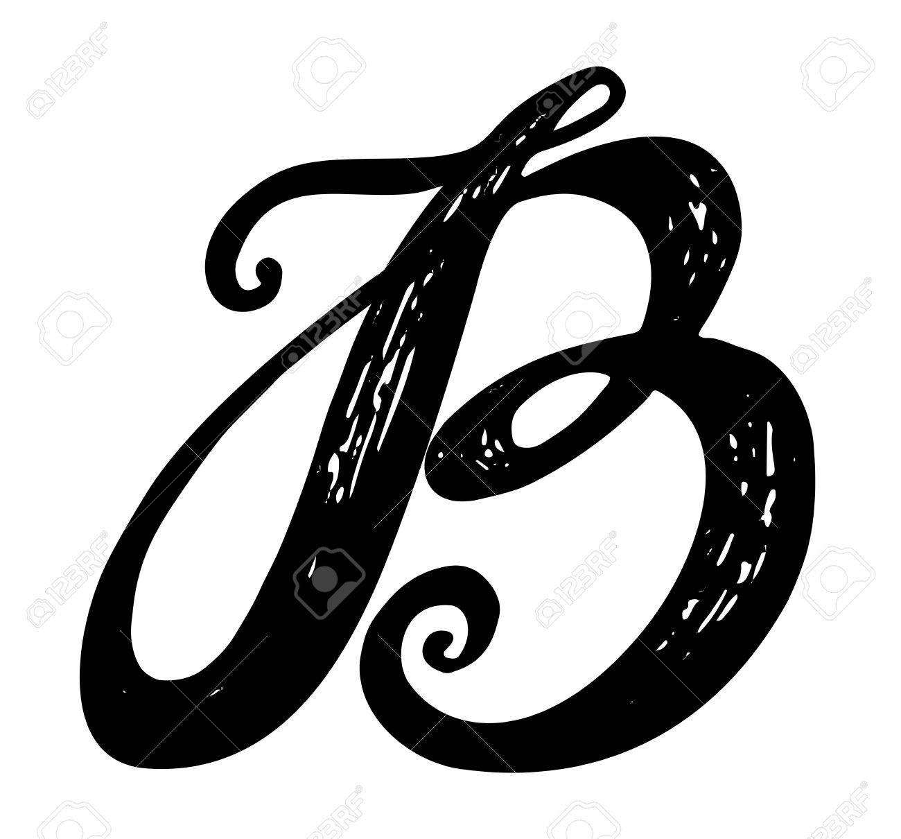 Letter B Calligraphy Alphabet Typeset Lettering Hand Drawn Capital And Lower