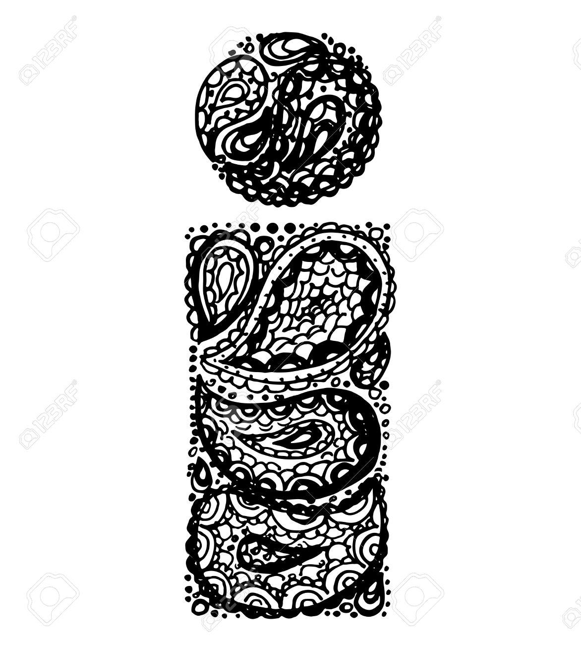 Lettre I Alphabet Decoratif Avec Un Zen Ornements Doodle De