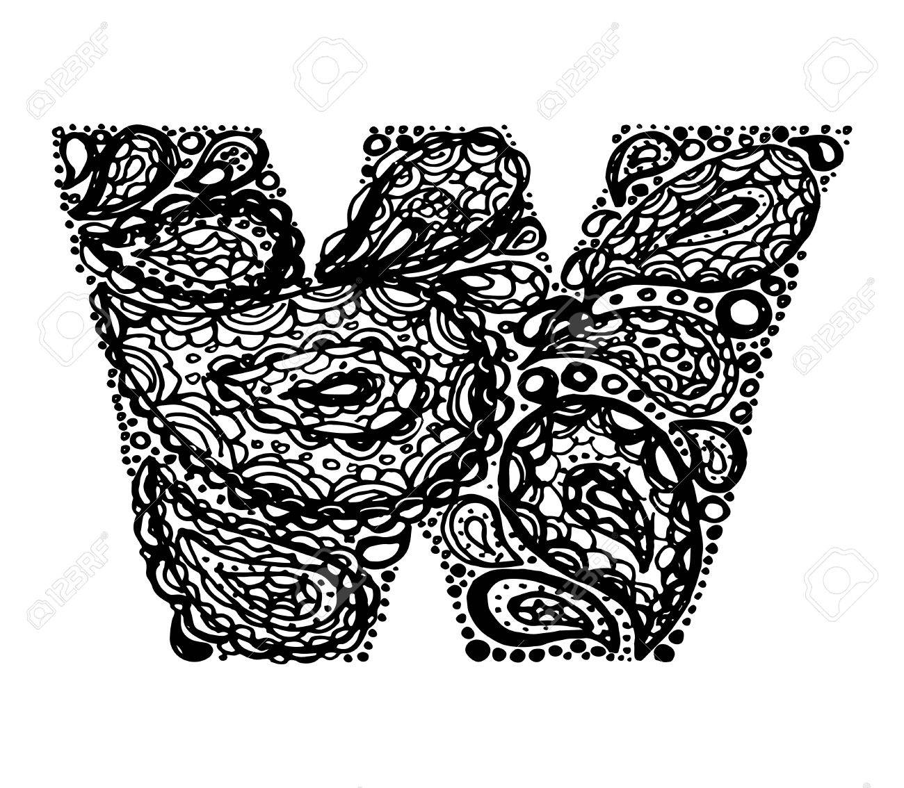Letter w decorative alphabet with a paisley zen doodle tattoo letter w decorative alphabet with a paisley zen doodle tattoo ornaments filling display font altavistaventures Gallery