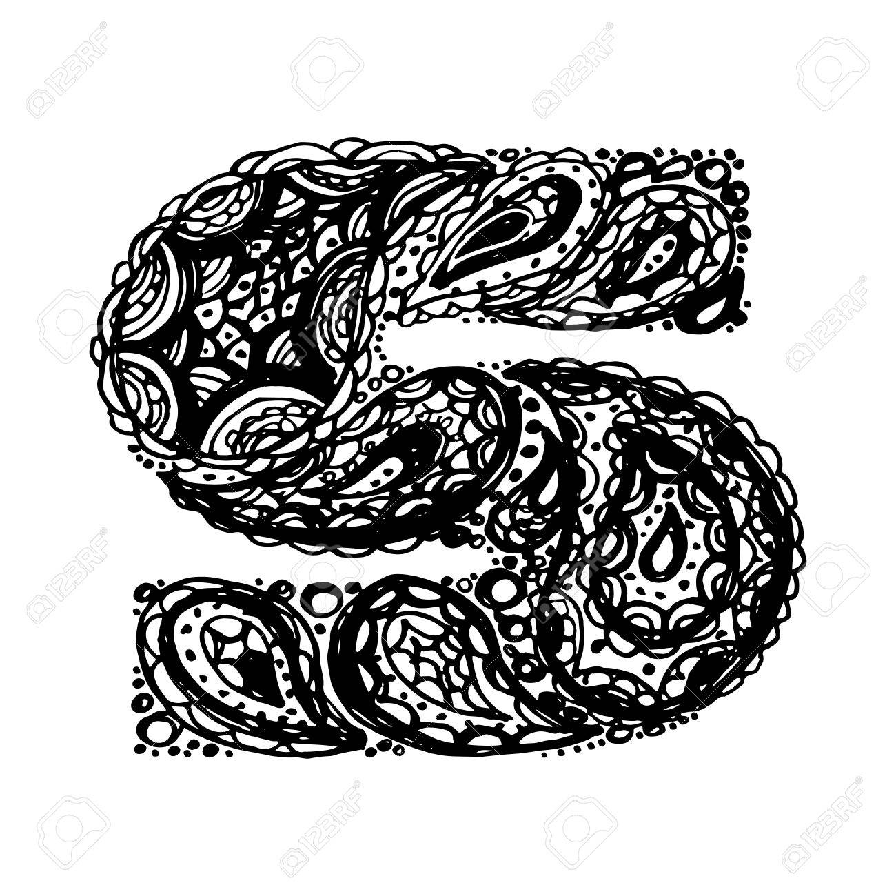 Letter S Decorative Alphabet With A Paisley Zen Doodle Tattoo Ornaments Filling Display Font