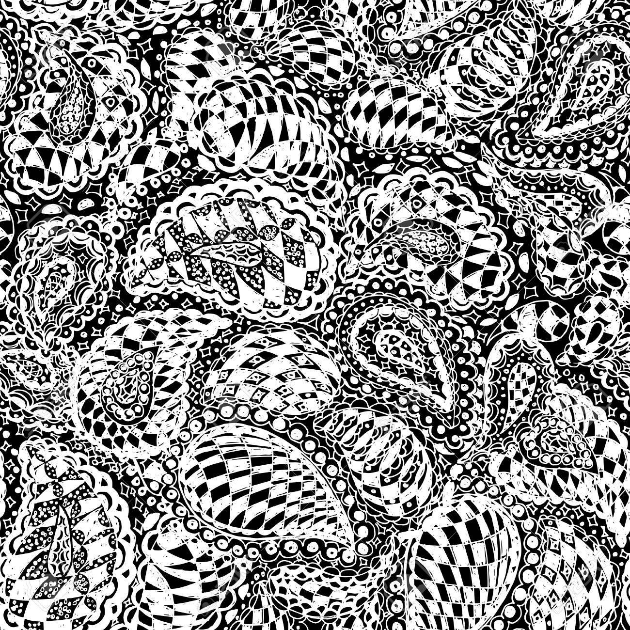 シームレスな壁紙パターンの幾何学的な落書き ペイズリーの装飾品や