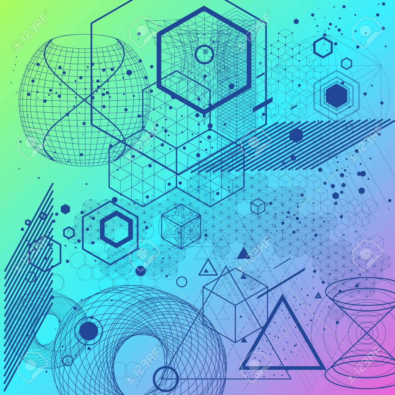 the science and mathematics abstract background with circles