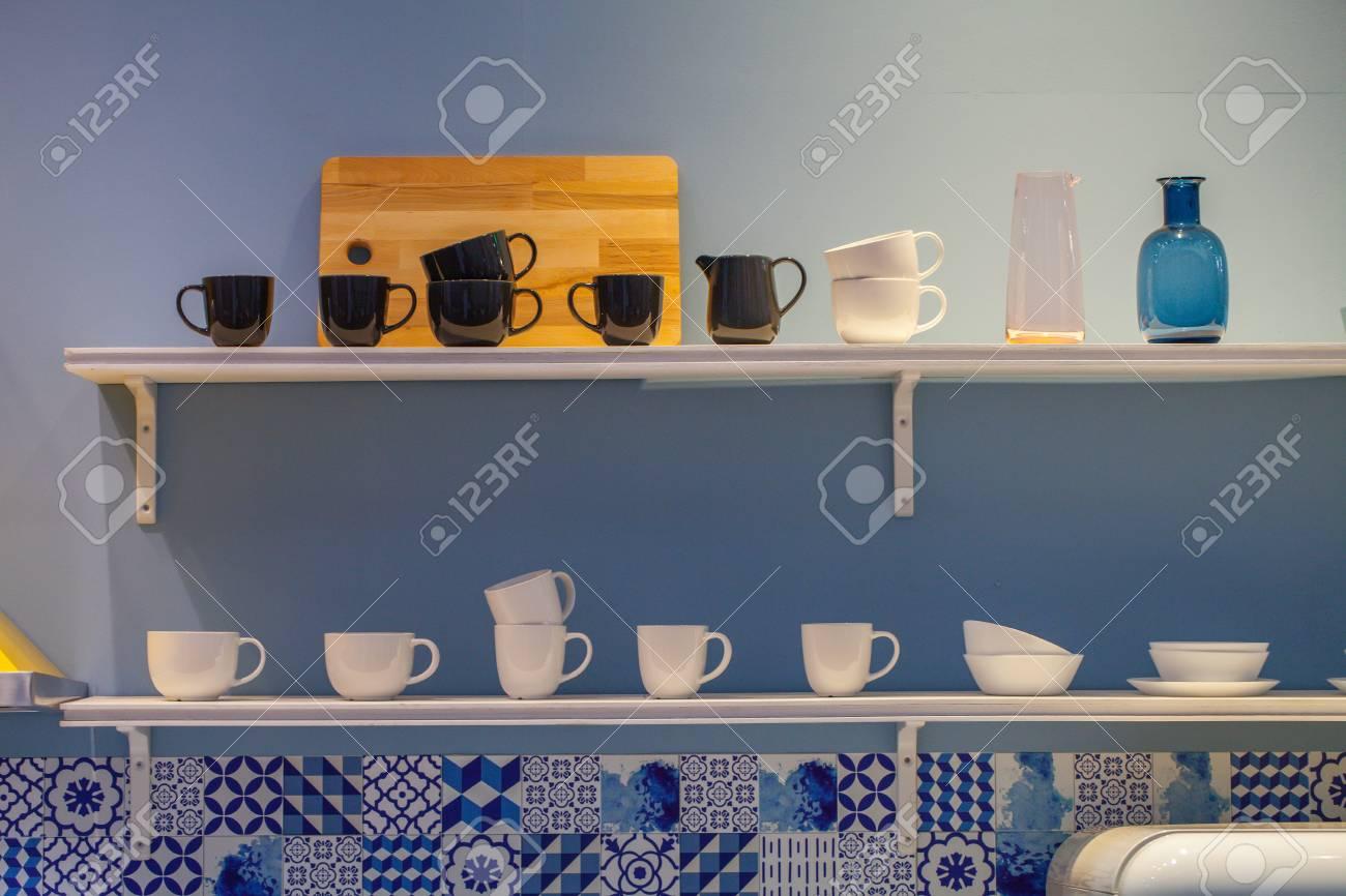 Coffee Mug Shelf Black And White Coffee Mug Glass On Shelf Stock Photo Picture And Royalty Free Image Image 109250223