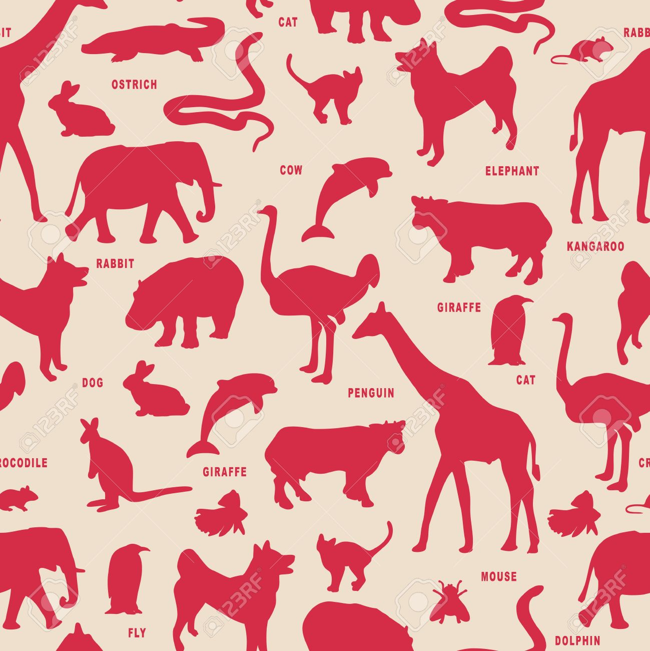 Animals silhouette vector pattern. Stock Vector - 11747431