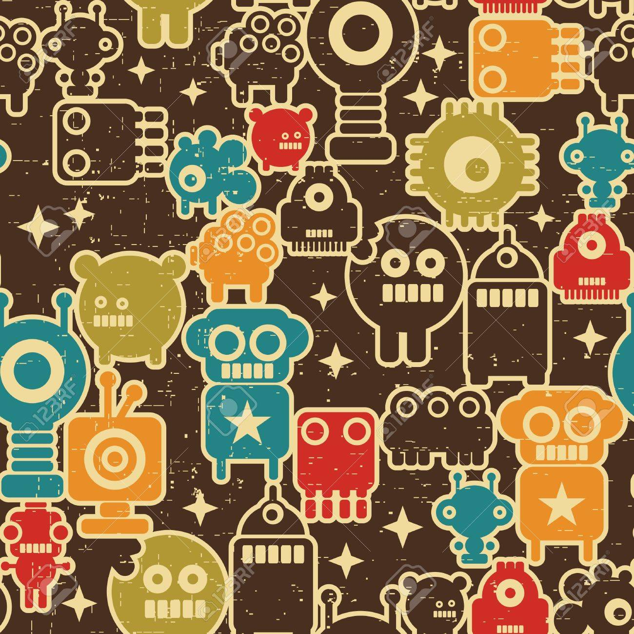 Robot and monsters modern seamless pattern in retro style #1. Stock Vector - 11747571