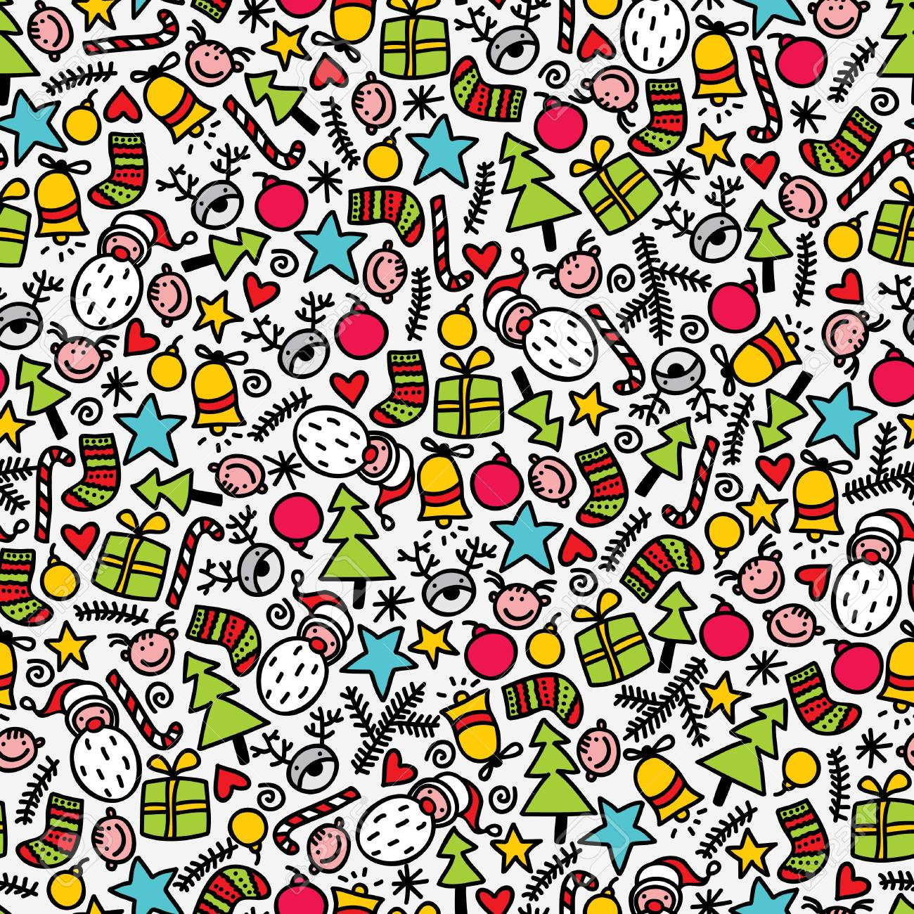 Seamless doodle Christmas pattern. Vector illustration. Stock Vector - 11747606