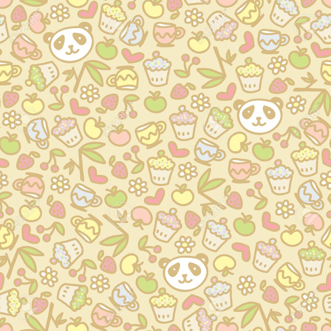 Cute panda seamless pattern, vector doodle illustration. Stock Vector - 11747523