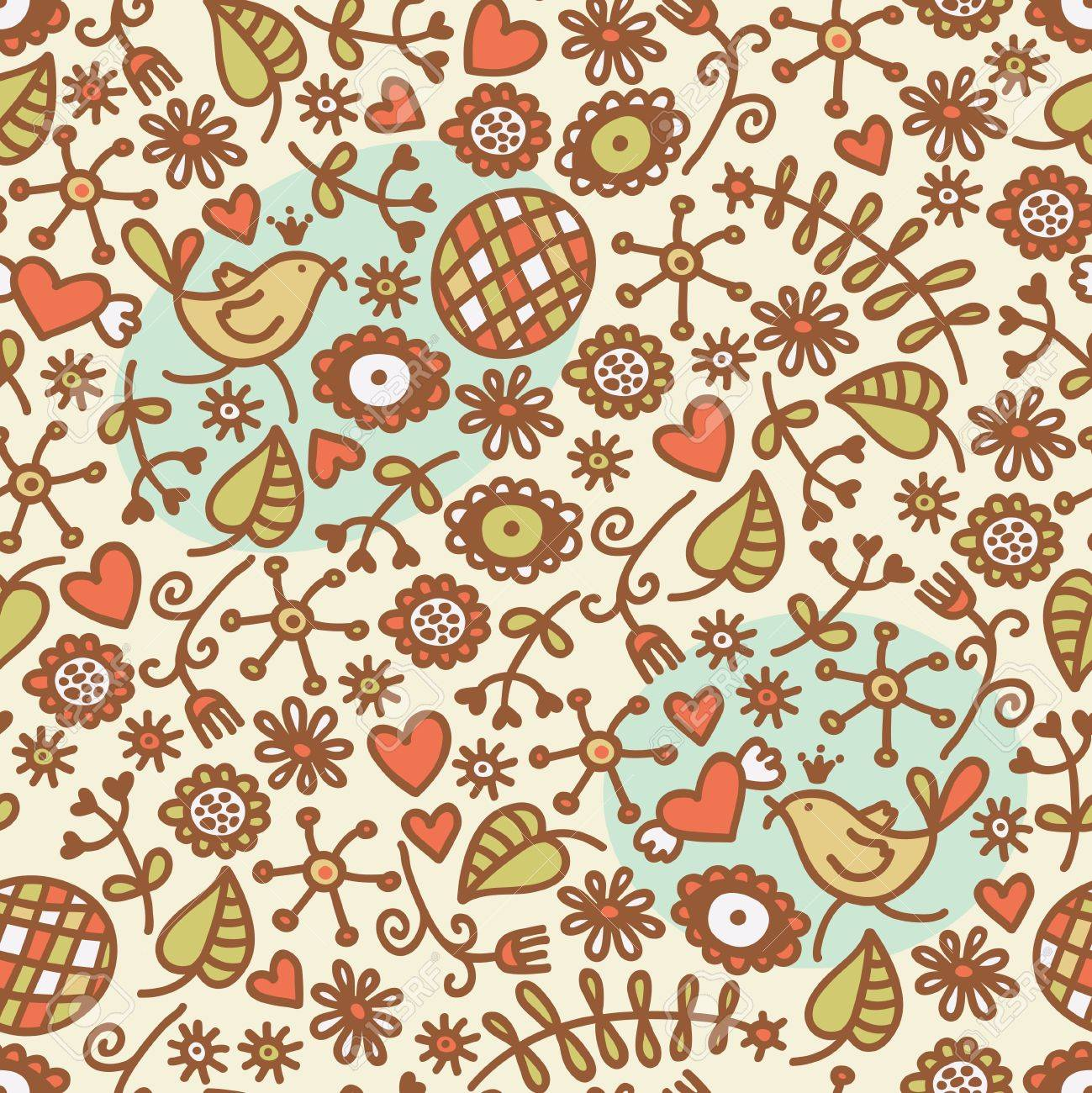 Seamless pattern with romantic birds in crown, hearts and flora. Vector doodle illustration. Stock Vector - 11747450