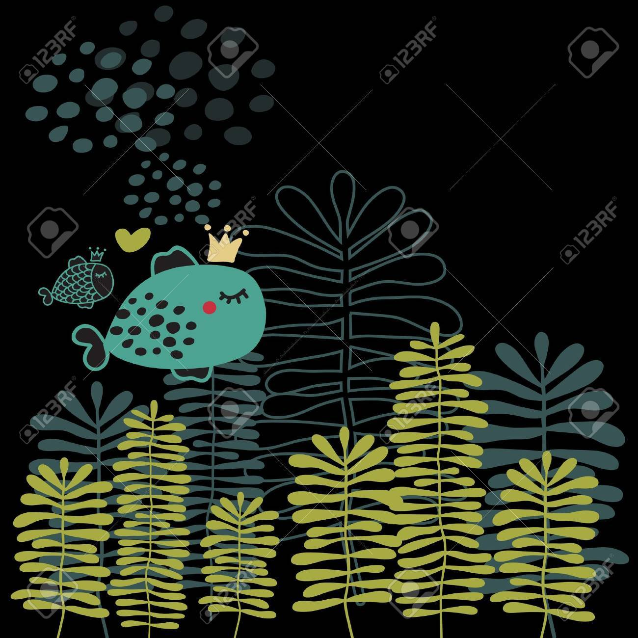Summer card with fish and heart. Vector doodle background. Stock Vector - 11747884