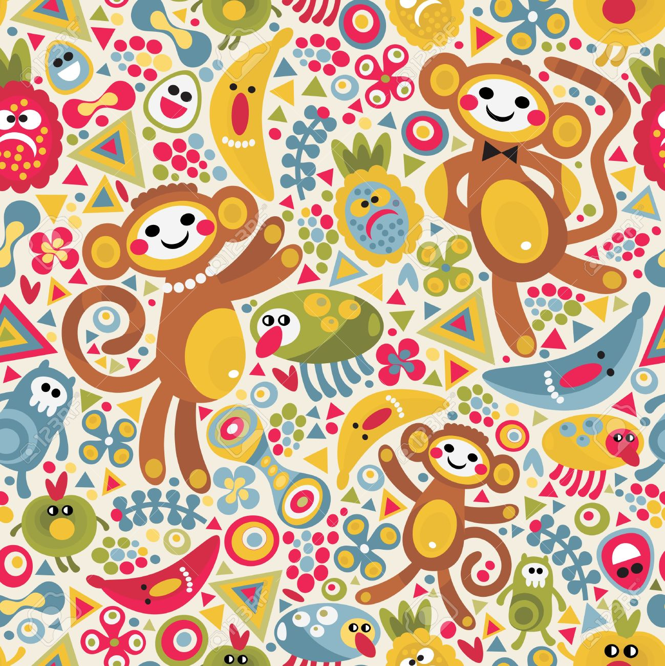 Cute monsters and animals seamless texture. Vector colorful pattern for you background. Stock Vector - 11747960