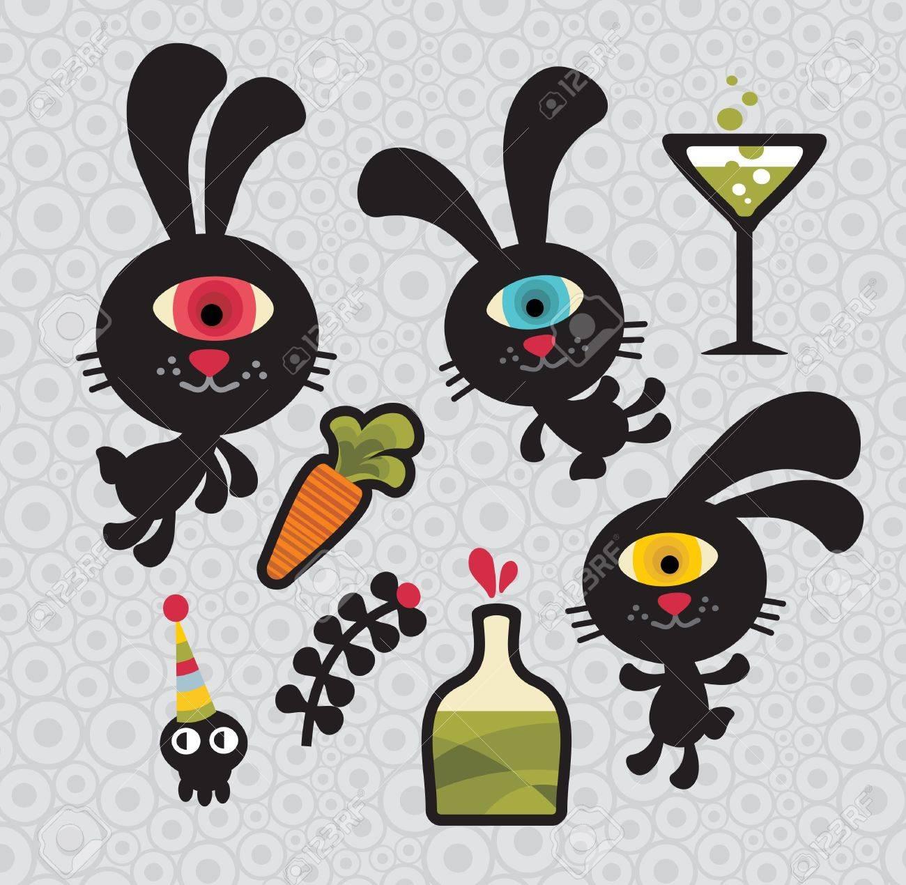 Conjunto De Conejos Monstruos Lindo Y Divertido. Vector Doodle ...