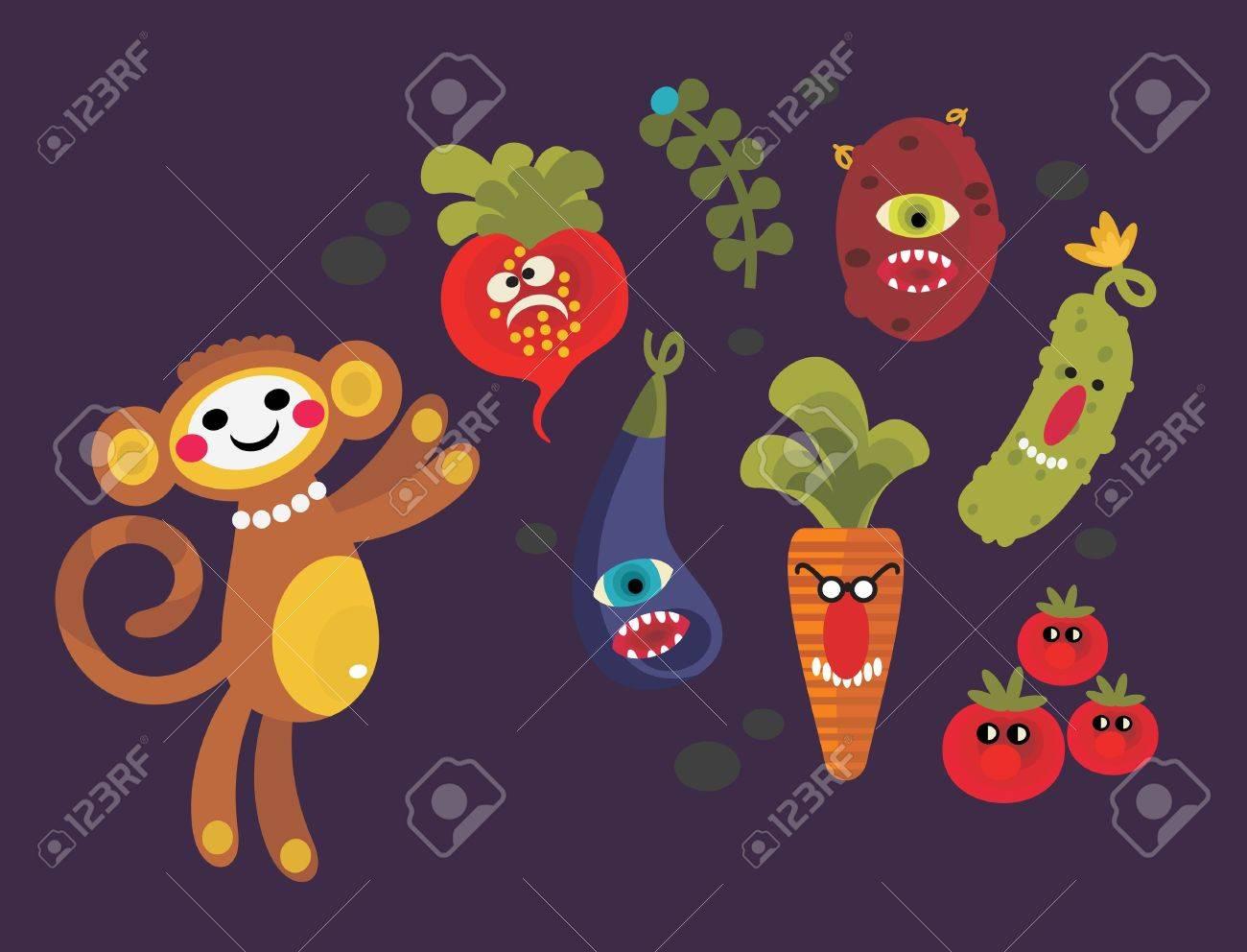 Cute Vegetable Background Set of Cute Vegetables