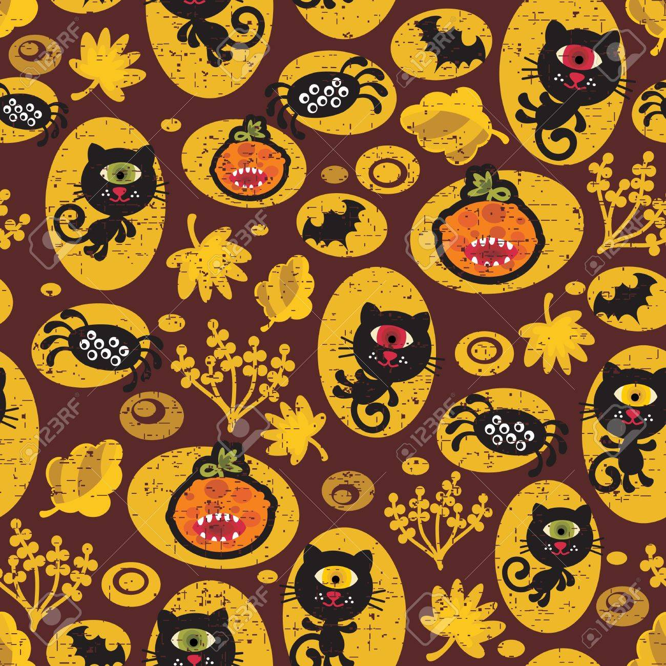 Seamless Halloween texture with black cat. Vector pattern. Stock Vector - 11749330