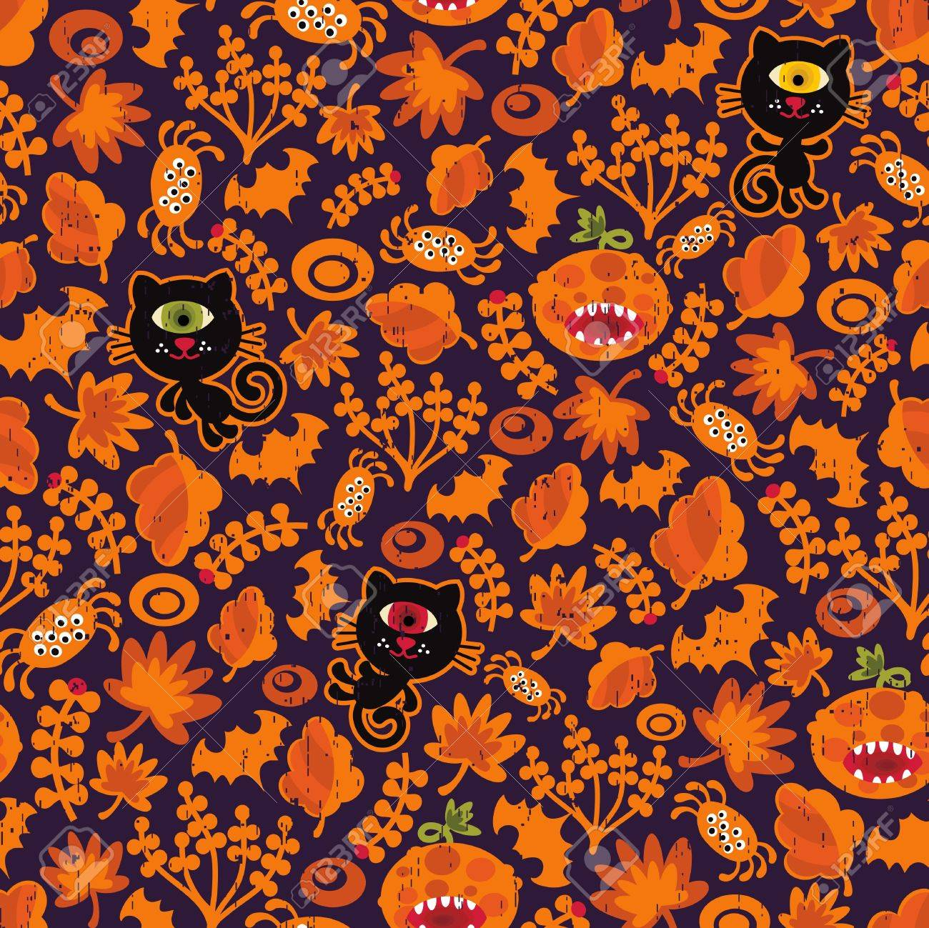 Seamless Halloween texture with black cat. Vector pattern for your background. Stock Vector - 11749276