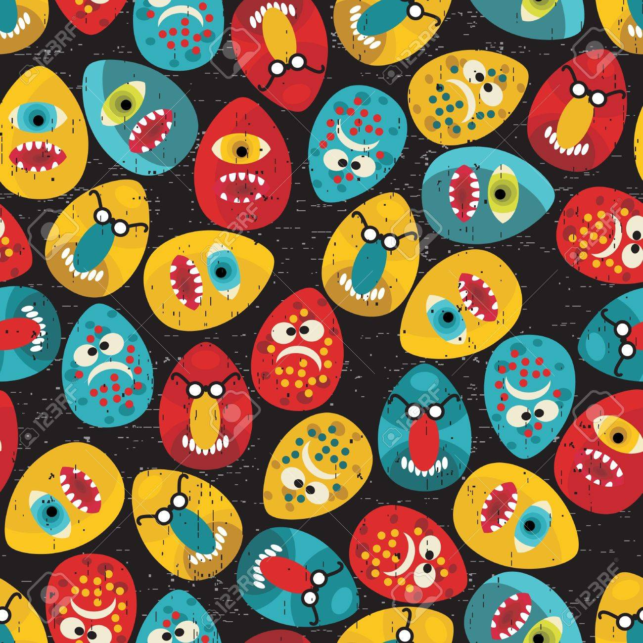 Crazy eggs monsters seamless pattern in retro style. Vector texture for your background. Stock Vector - 11749287