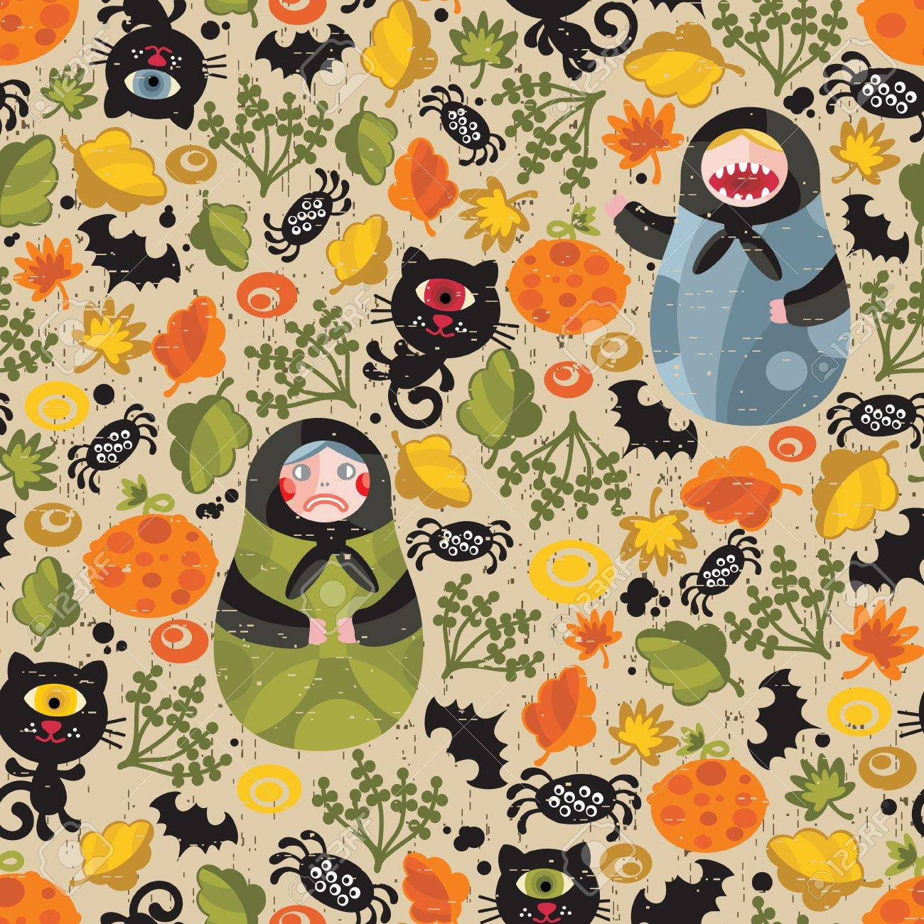 Seamless pattern with matreshka and black cats. Vector texture for Halloween. Stock Vector - 11749321