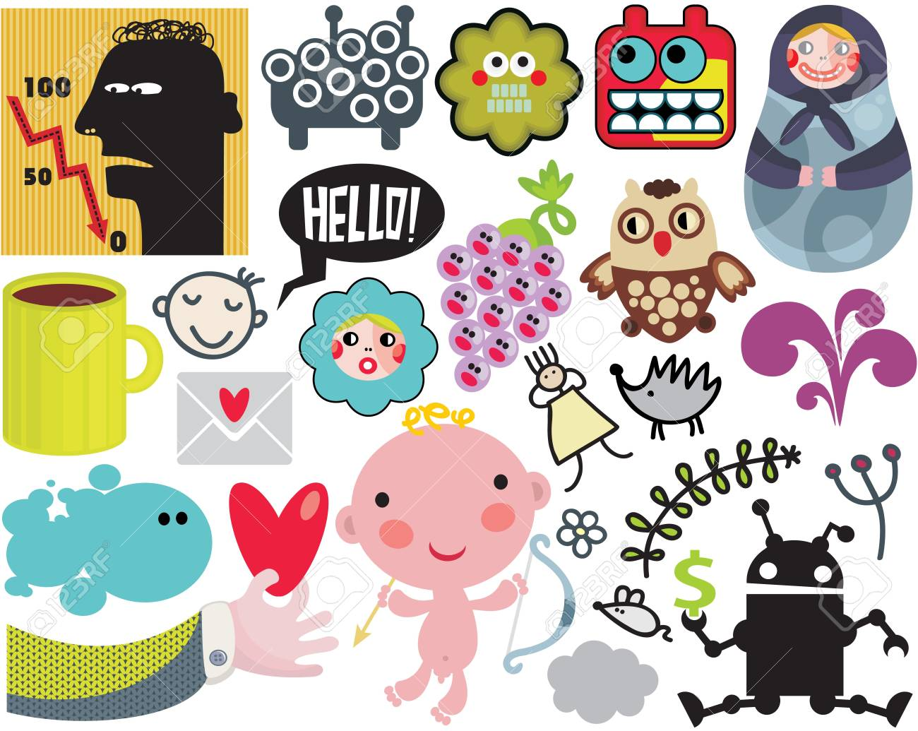 Mix of different images and icons. vol.38 Stock Vector - 12072198