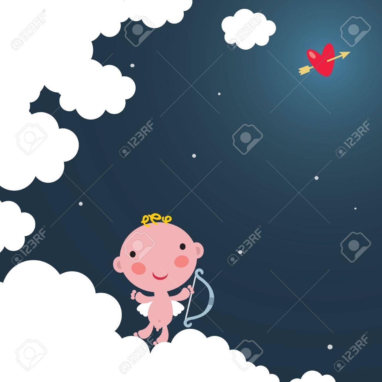 Cute cupid on the cloud. Stock Vector - 12072195