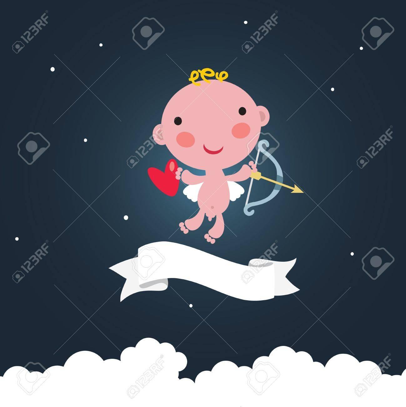 Cute cupid in the dark sky. Stock Vector - 12072197