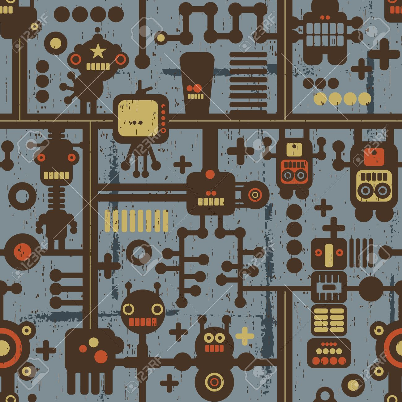 Robot and monsters seamless pattern on blue. Stock Vector - 12072203