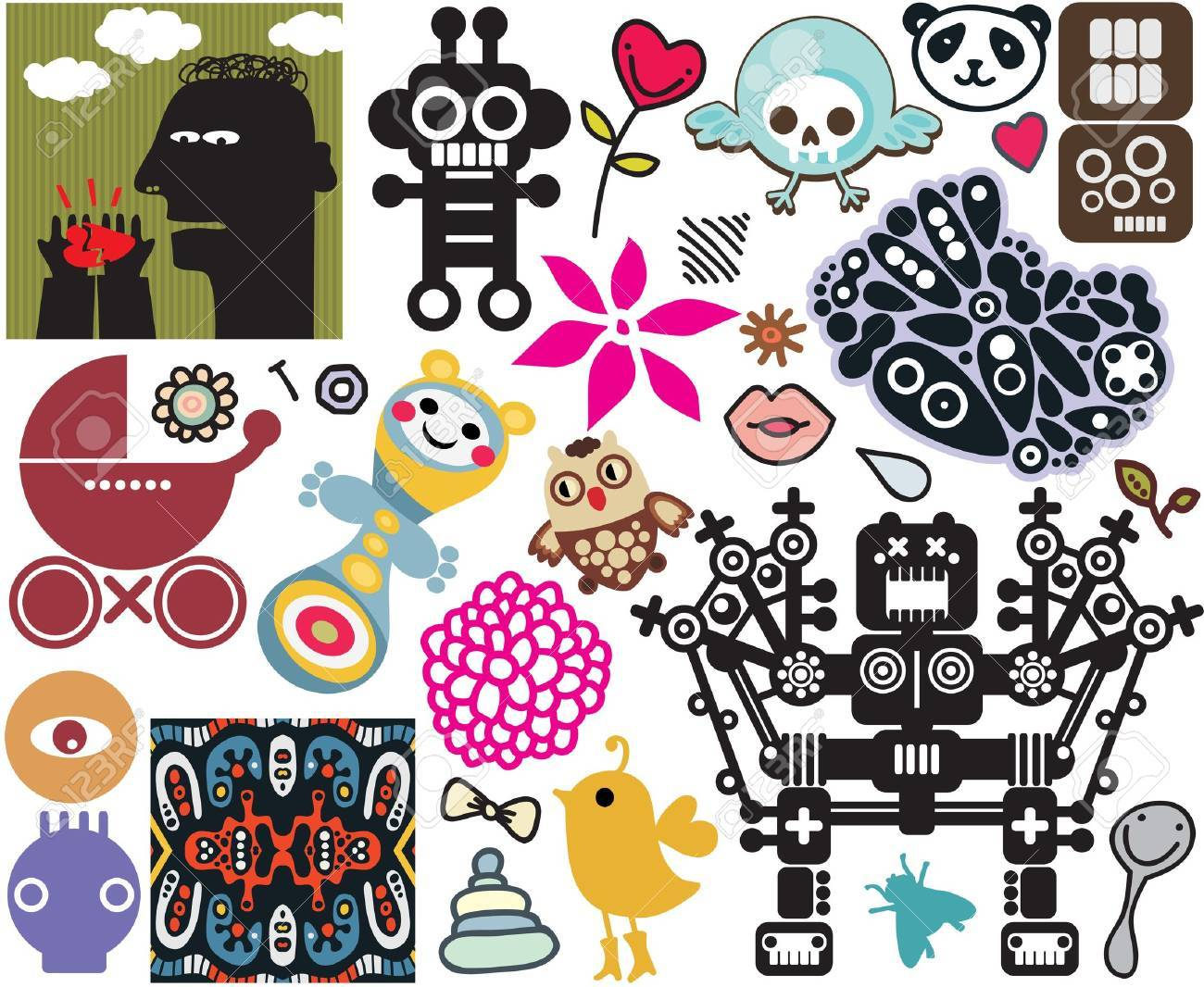 Mix of different vector images and icons. vol.45 Stock Vector - 12820463
