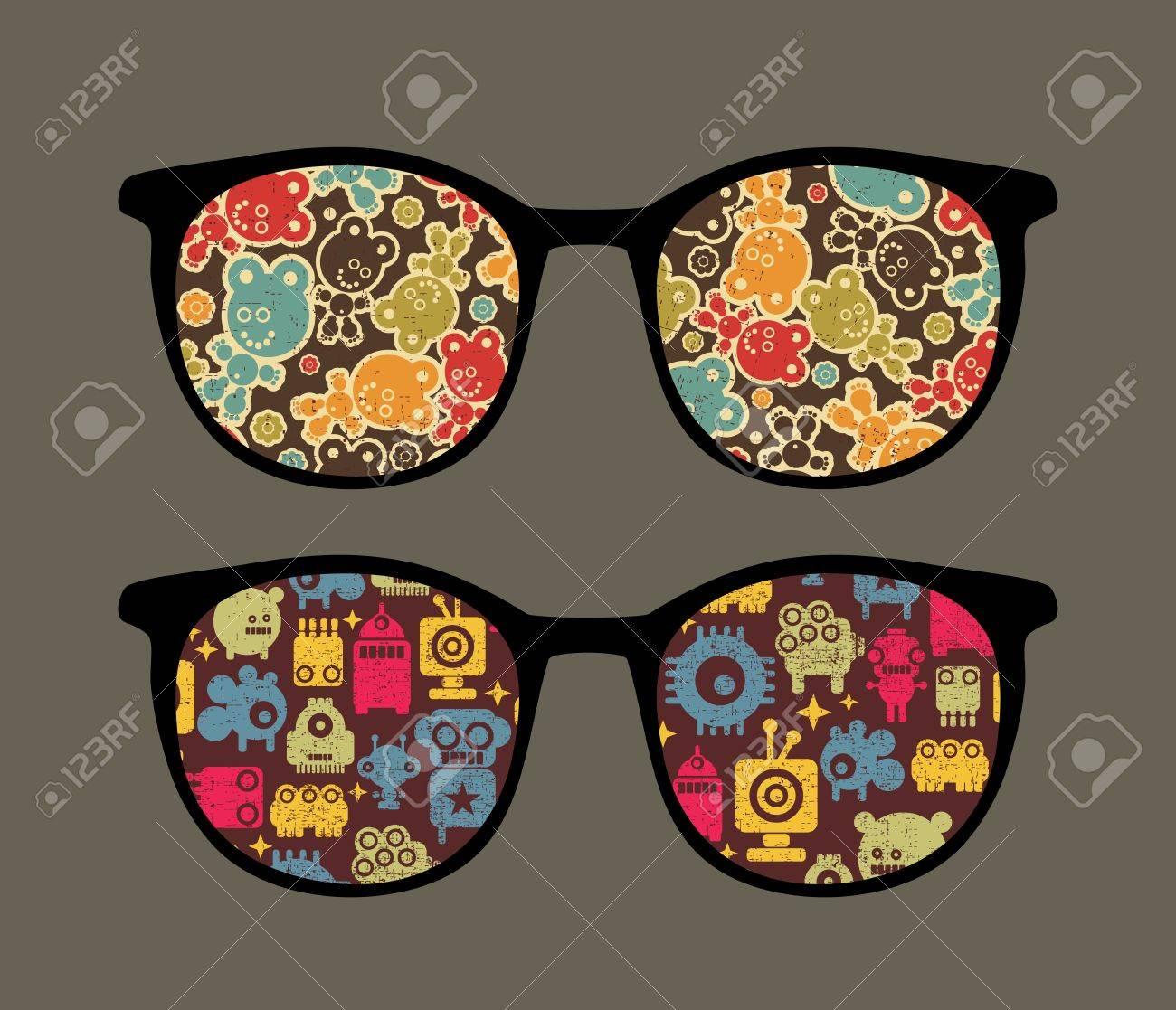 Retro eyeglasses with strange robots reflection in it. Stock Vector - 12957484