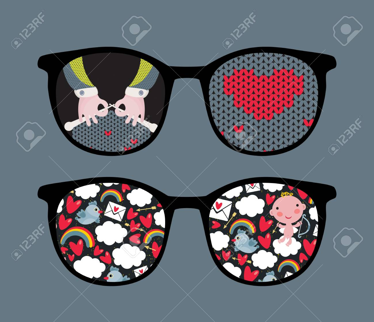 Retro eyeglasses with cute and romantic reflection in it Stock Vector - 13057903