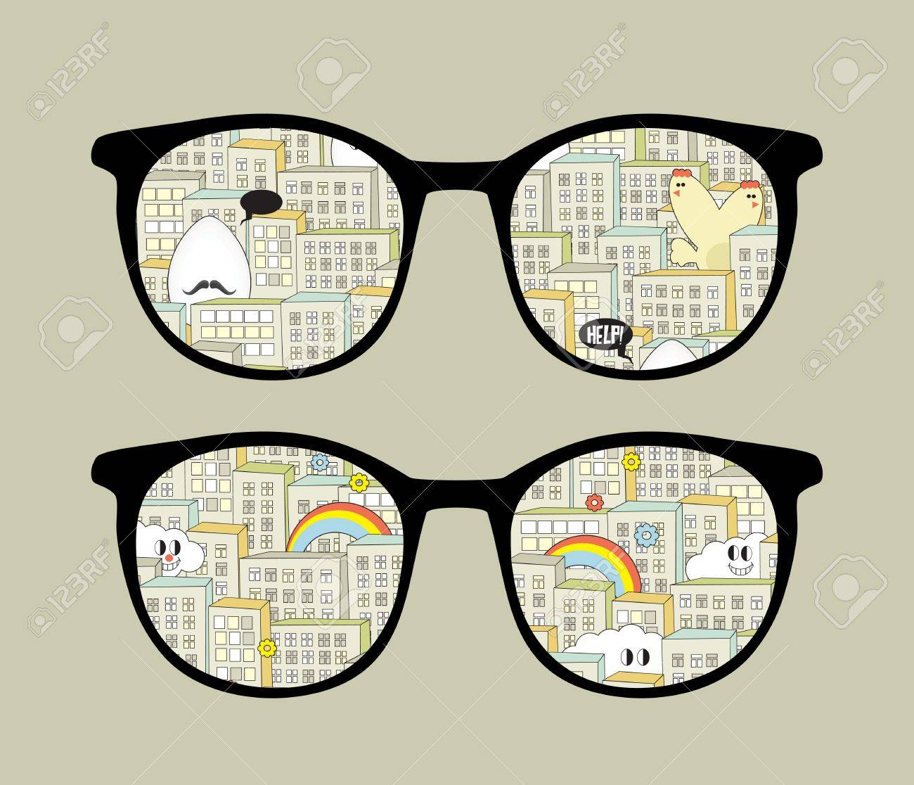 Retro sunglasses with city monsters reflection in it. Stock Vector - 13057912