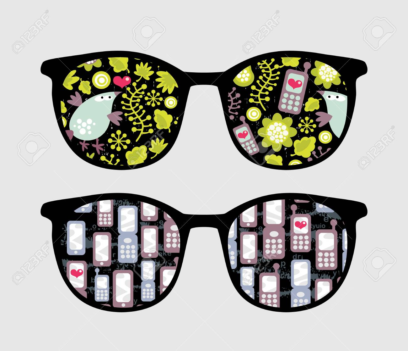 Retro sunglasses with mobile phones reflection in it. Stock Vector - 13057895