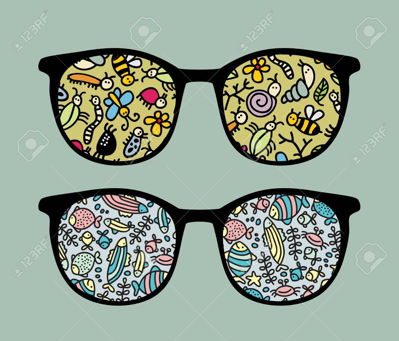 Retro sunglasses with insects and fish reflection in it. Stock Vector - 13285316